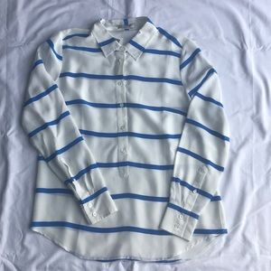 BNWT JCrew Blue/white striped silk popover